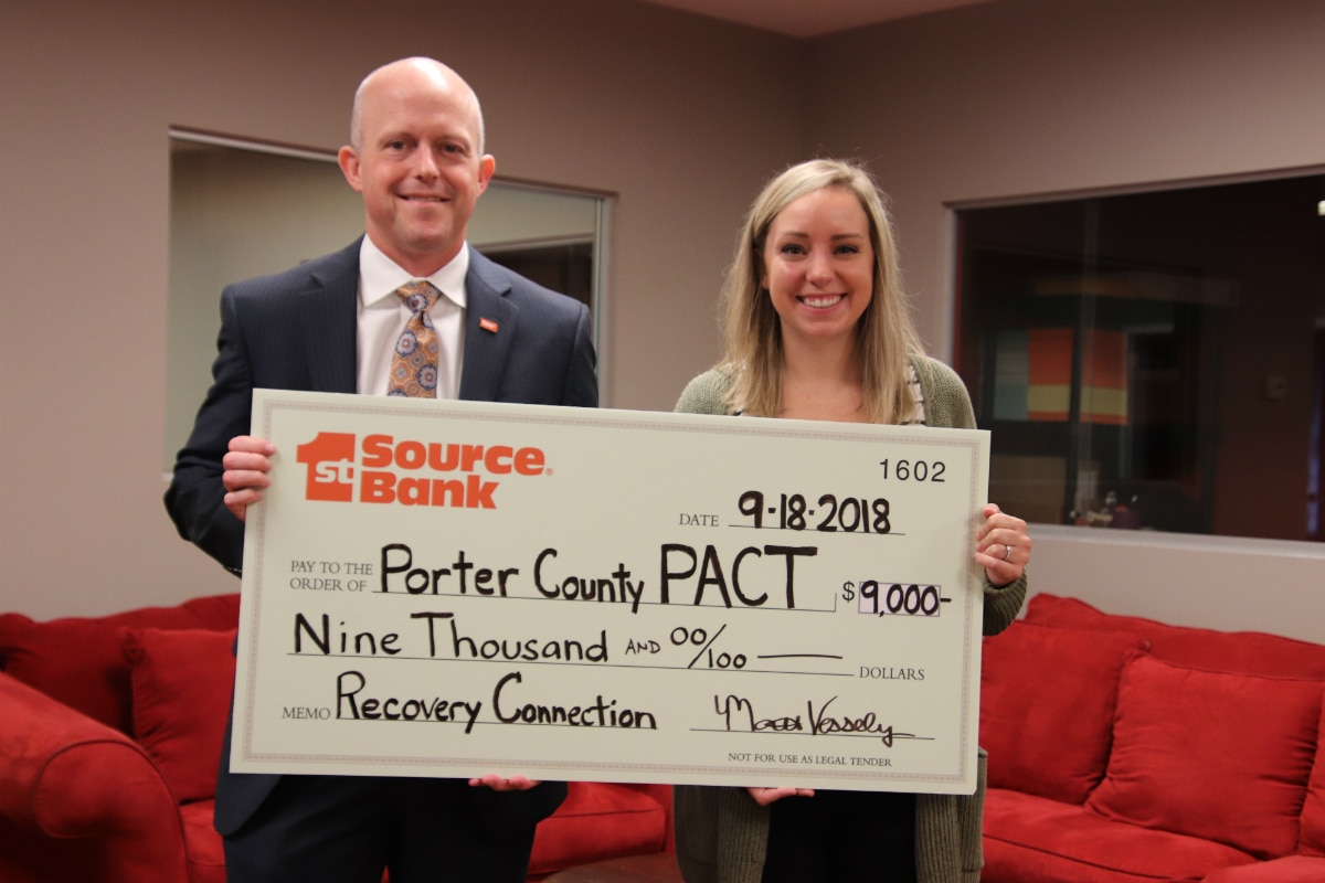 1st Source Bank Donates $9,000 to Porter County PACT's Recovery Connection