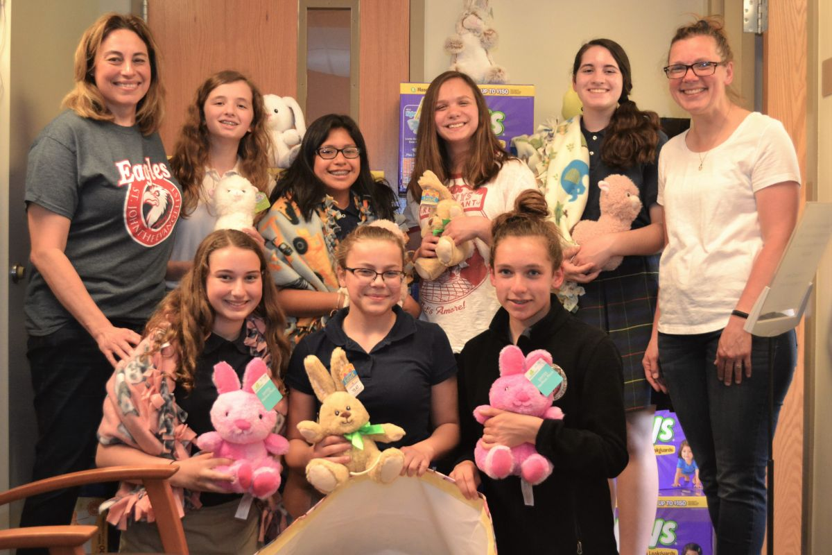 St. John the Evangelist students deliver on service project by assisting Franciscan Health Prenatal Assistance Programs